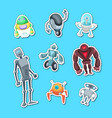 cartoon robots sticker color set vector image