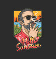cool man is on vacation on a tropical beach while vector image