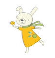 cute bunny with bird vector image