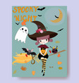 cute witch and spooky night cartoon halloween vector image