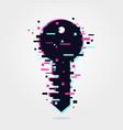 digital key icon glitch effect login symbol wed vector image