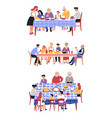 family dinner table and dishes holiday festive vector image