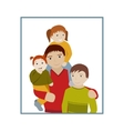 Father with three children portrait cartoon vector image