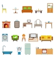 Flat Furniture Icons and Symbols Set for Living vector image vector image