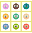 flat icons set of Business pie chart on monitor vector image vector image