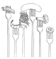 forks with foods vector image