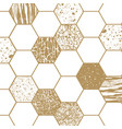 geometric pattern with hexagon shapes gold vector image