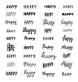 happy lettering collection vector image vector image