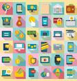internet banking icons set flat style vector image