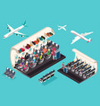 isometric view of the interior of an airplane vector image vector image