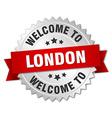 London 3d silver badge with red ribbon vector image vector image