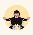 man in helmet sitting on the motorcycle flat style vector image vector image