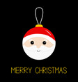 merry christmas ball toy hanging santa claus head vector image vector image