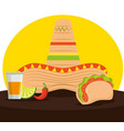 mexican tacos with tequila and hat to celebrate vector image vector image