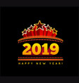 new year marquee 2019 on black vector image