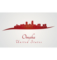 Omaha skyline in red vector image vector image