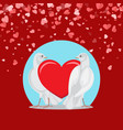 pair of white doves and red love symbol on blue vector image