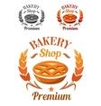 Premium Bakery Shop emblem or badge vector image vector image