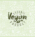 Raw vegan seamless pattern and emblem vector image vector image