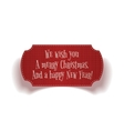 Realistic vintage Christmas red greeting Label vector image vector image