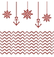 Red and white nautical template vector image vector image