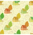 Seamless pattern cartoon houses and trees vector image
