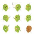 set cute leaf cartoon characters vector image vector image