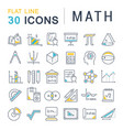 set line icons math vector image