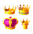 set of royal gold crowns with gems isolated vector image