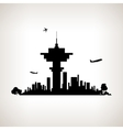 Silhouette control tower at the airport vector image vector image