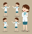 smart woman doctor presenting in various action vector image vector image