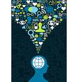 Social media brain communication splash vector image