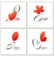 Stylish calligraphic Valentines day greeting cards vector image vector image