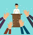 success in business man giving a speech on stage vector image vector image