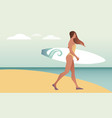surfing time young woman in swimsuit carrying a vector image