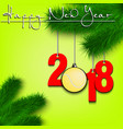 tennis ball and 2018 on a christmas tree branch vector image vector image
