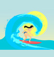 the surfing girl the brunette vector image vector image