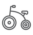 tricycle line icon bicycle and child vector image