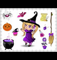 violet halloween cartoon set of objects for vector image vector image