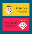 voucher on 25 -75 set of posters gold tags label vector image vector image
