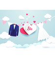 white dress and blue suit with heart sign hanging vector image vector image