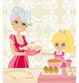 Grandma baking cookies with her granddaughter vector image