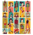Set fashion people face and figures vector image