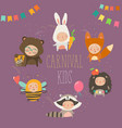 set of cute kids wearing animal costumes vector image