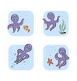 set vintage icon emoji octopus vector image