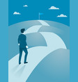 businessman walking steady to the top of mountain vector image