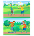 aged people in park old man and woman vector image vector image
