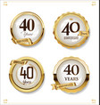 anniversary golden labels retro vintage design vector image vector image