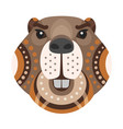beaver head logo decorative emblem vector image vector image