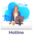 character female call center hotline online vector image vector image